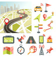 navigation map road and direction navigative vector image