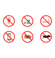 no smoking no cell phone no dogs and no eating vector image