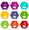 pointe shoes icon set color hexahedron vector image vector image