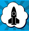 retro rocket sign black icon vector image