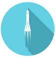rocket flat icon with long shadow vector image