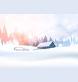 rural winter landscape with house in snowy forest vector image vector image