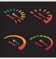 set of four isometric speedometer scale vector image