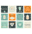 Set of grunge Valentines day design elements vector image