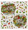 Set of Merry Christmas and New Year hand lettering vector image vector image