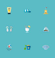 set of summer icons flat style symbols with shell vector image