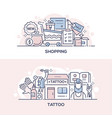 shopping event and tattoo parlor banner template vector image