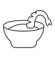 shrimp soup thin line icon bowl and shrimp vector image vector image