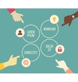 social meeting concept with hands and vector image vector image