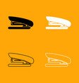 stapler black and white set icon vector image vector image