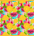 summer fruits patterns in bright cartoon style vector image vector image