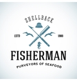 Vintage Shell Back Fisherman Logo Template vector image vector image