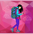 walking girl with a mobile phone vector image vector image