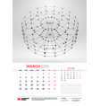 wall calendar template for march 2019 with vector image vector image