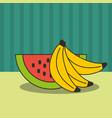 watermelon and bananas fresh delicious vector image vector image