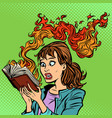 woman reading a burning book censorship concept vector image vector image