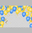 yellow and blue balloons on the translucent floor vector image