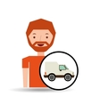 cartoon man delivery truck icon graphic vector image