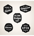 Retro Welcome and Open Signs or Labels Textured vector image