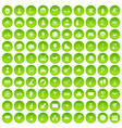 100 kids activity icons set green circle vector image vector image