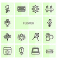 14 flower icons vector image vector image