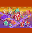 amusement park circus attractions isometric vector image