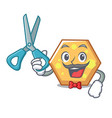 barber hexagon character cartoon style vector image