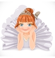 Beautiful ballerina girl in white dress lie on vector image