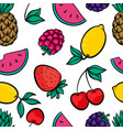 beautiful seamless pattern with cute doodle fruits vector image