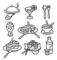 cafe food icons vector image vector image