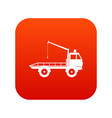 car towing truck icon digital red vector image vector image