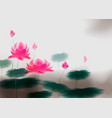 card with lotus flower lotus ink effect vector image
