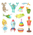 cartoon set toys for kids boys and girls funny vector image vector image