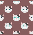 cat flat feline head seamless pattern background vector image vector image