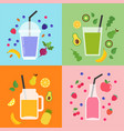 collection of different colorful smoothies fruit vector image