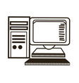 computer monitor keyboard processor tower image vector image