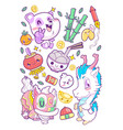 cute china sticker set doodle vector image