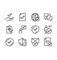 different line check mark icon set vector image vector image