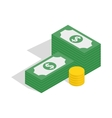 Dollars and coins icon isometric 3d style vector image vector image