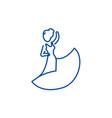 flamenco dancer line icon concept flamenco dancer vector image vector image