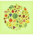 Fruits and vegetables icons collection vector image vector image