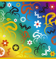 funny spring cycling icons decorative background vector image vector image