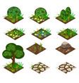 garden or farm isometric tile set vector image vector image