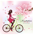 Girl bike card vector image