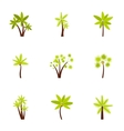 Green palms icons set flat style vector image vector image