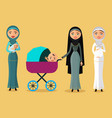 happy arab woman with a newborn baby vector image