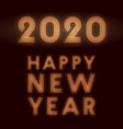 happy new year 2020 background retro neon design vector image vector image