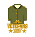 isolated captain uniform veteran day label vector image vector image