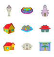 mansion house icons set cartoon style vector image vector image
