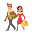 merry christmas couple family shopping with packs vector image vector image